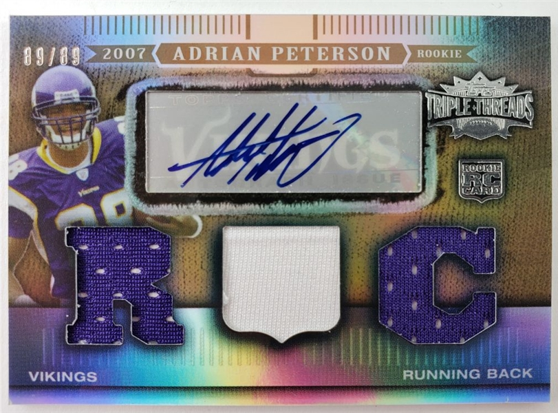 Adrian Peterson Minnesota Vikings 2007 Triple Threads RPA Rookie Relic Autograph Lmt. Ed Football Card