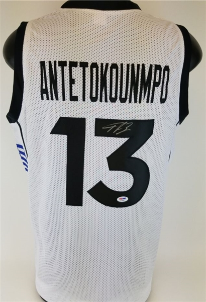 Giannis Antetokounmpo Signed Greece Custom Jersey (PSA/DNA COA)