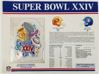 Super Bowl XXIV (24) Official Willabee & Ward NFL Patch Card - 49ers vs Broncos