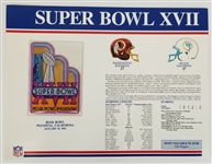 Super Bowl XVII (17) Official Willabee & Ward NFL Patch Card - Redskins vs Dolphins