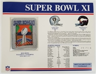 Super Bowl XI (11) Official Willabee & Ward NFL Patch Card - Raiders vs Vikings