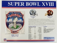 Super Bowl XVIII (18) Official Willabee & Ward NFL Patch Card - Raiders vs Redskins