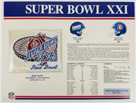 Super Bowl XXI (21) Official Willabee & Ward NFL Patch Card - Giants vs Broncos