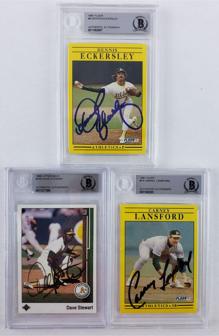 Lot Detail Lot Of 3 Oakland As Signed Baseball Cards Bas