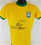 "Pele ""3x WC Champ"" Signed Brazil Soccer 1970 World Cup Embroidered Jersey (PSA/DNA COA)"