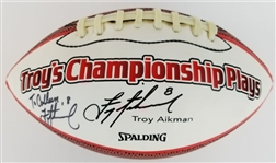 "Troy Aikman ""To Colleen"" Signed Troys Championship Plays Super Bowl XXVIII Logo Football  (JSA COA)"
