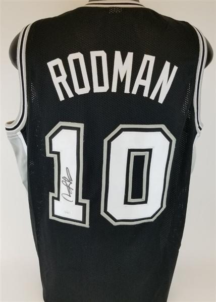 low priced f70ed 0061d Lot Detail - Dennis Rodman Signed Custom Black 'The Worm ...