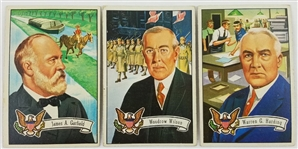 Lot of (3) 1956 Topps US Presidents Collectible Cards - Garfield, Wilson, Harding