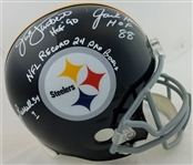 Jack Lambert, Jack Ham & Andy Russell Signed & Inscribed Full Size Replica Steelers Helmet (Beckett Witness & TSE COAs)