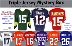 Football Jersey Mystery Box – 3 Jerseys Per Box! – Limited to only 33 Boxes in the Series! Look for the Mega Hit Box! Tom Brady, Bart Starr & Patrick Mahomes!