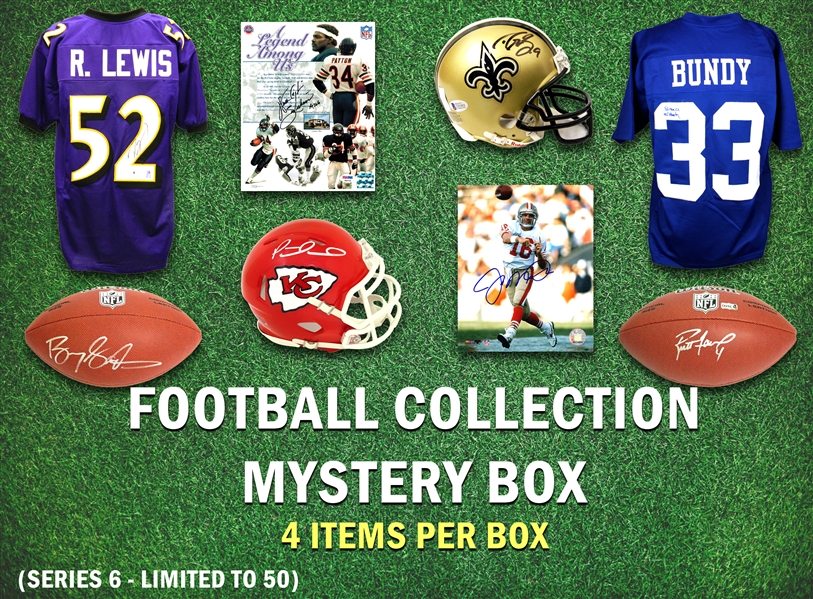 Football Collection Mystery Box - Series 6 (Limited to 50) (4 Autographs/ 2 Hall of Famers Per Box)