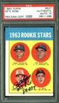 "Pete Rose ""Hit King"" & ""63 ROY"" Signed 1963 Topps Rookie Card #537 - Autograph Graded Gem Mint 10! (PSA)"