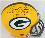 "Bart Starr ""MVP SB I, II"" & ""HOF 77"" Signed Full Size Authentic Proline VSR-4 Green Bay Packers Helmet (JSA & Tristar Certified)"
