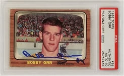 Bobby Orr Signed Boston Bruins 1966 Topps #35 Rookie Card - PSA Graded Gem Mint 10 Autograph! (PSA)