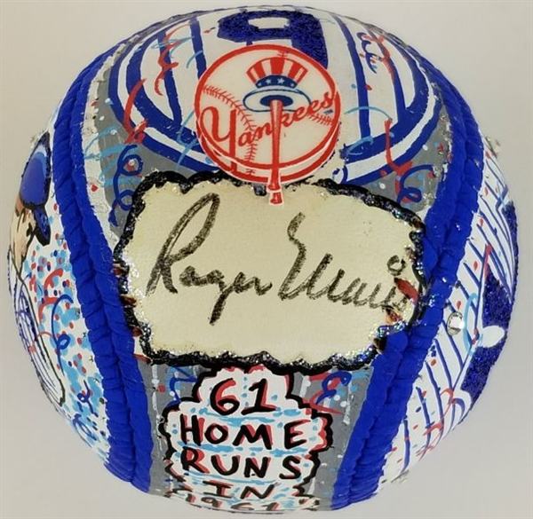 Roger Maris Signed 1/1 Charles Fazzino Hand-Painted 3D Pop Art Baseball (JSA LOA)