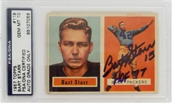 "Bart Starr (d. 2019) ""15"" & ""HOF 77"" Signed 1957 Topps #119 Green Bay Packers Rookie Card - Autograph Graded Gem Mint 10! (PSA/DNA)"