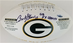 "Bart Starr ""GB 5x Champs"" Signed Green Bay 2010 Packers Logo Football (Tristar COA)"