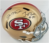 Joe Montana & Jerry Rice Dual Signed Full Size Replica San Francisco 49ers Speed Helmet (JSA Witness COA)