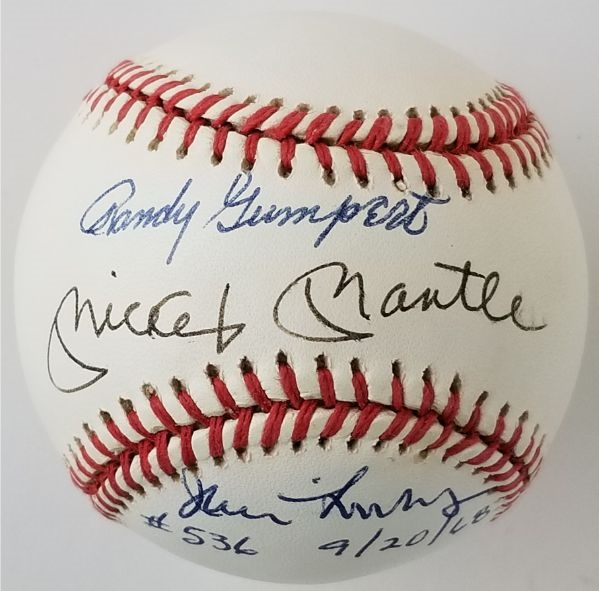 Mickey Mantle, Jim Lonborg & Randy Gumpert Signed & Inscribed OAL Bobby Brown Baseball - Pitchers to allow Mantles 1st & Last Home Runs (JSA LOA)