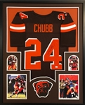 Nick Chubb Signed Cleveland Browns Custom Jersey Framed Display (JSA Witness COA)
