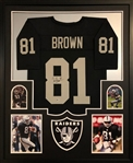 Tim Brown Signed Oakland Raiders Custom Jersey Framed Display (Beckett Witness COA)