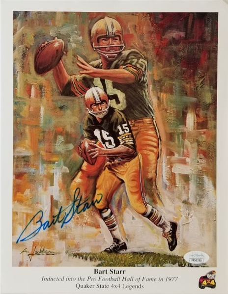 Bart Starr Signed Green Bay Packers Pro Football Hall of Fame 9x12 Lithograph (JSA COA)