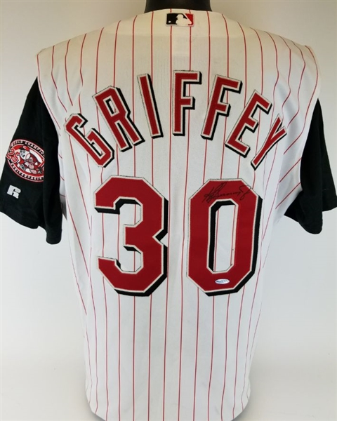 Ken Griffey Jr. Signed Authentic Russell Athletic Diamond Collection Cincinnati Reds Jersey (UDA COA)