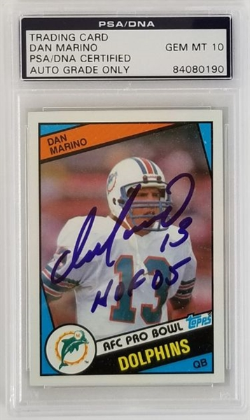 "Dan Marino ""HOF 05"" Signed 1984 Topps #123Rookie Card - Auto Graded Gem Mint 10! (PSA/DNA)"