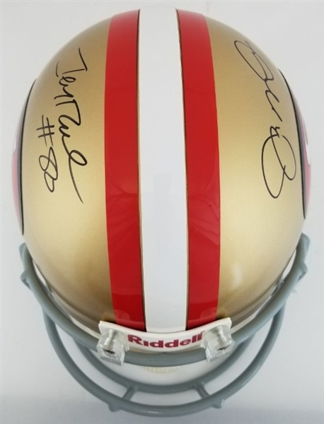 Joe Montana & Jerry Rice Dual Signed Full Size Authentic Proline San Francisco 49ers Helmet (JSA COA)