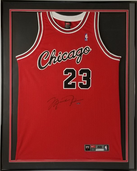 Michael Jordan Signed Chicago Bulls Authentic Nike NBA 1984 Throwback Jersey Framed (UDA COA)