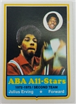 Julius Erving Virginia Squires 1973 Topps ABA All-Stars Basketball Card