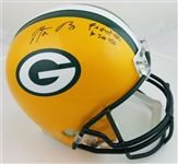 "Aaron Rodgers ""Fastest QB to 300 TDs"" Signed Full Size Replica Green Bay Packers Helmet (Steiner Certified)"