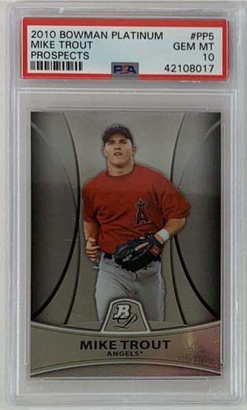 Mike Trout Los Angeles Angels 2010 Bowman Platinum Prospects Baseball Card - Graded Gem Mint 10! (PSA)