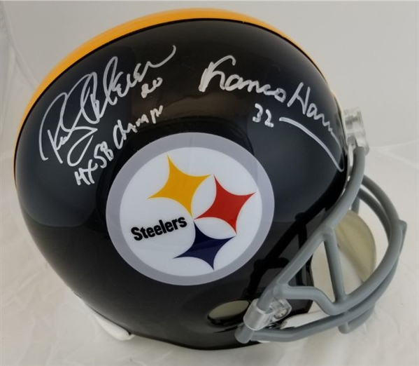 "Franco Harris & Rocky Bleier ""4x SB Champs"" Signed Full Size Replica Pittsburgh Steelers Helmet (JSA Witness COA)"