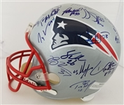 Tom Brady, Tedy Bruschi, Ty Law & Others Team Signed 2003 Super Bowl Champions New England Patriots Full Size Replica Helmet w/ 35+ Sigs (JSA LOA)