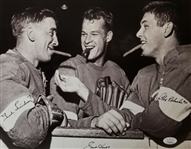 Gordie Howe, Alex Delvecchio & Ted Lindsay Signed Detroit Red Wings 11x14 Photo (JSA COA)