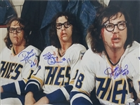 Dave Hanson, Jeff Carlson & Steve Carlson Signed Slap Shot Bloody Faces 16x20 Photo (TSE COA)