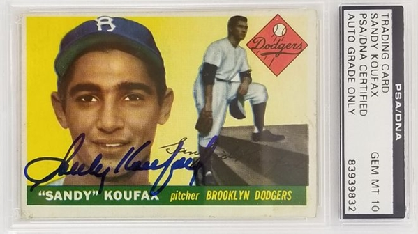 Sandy Koufax Signed Brooklyn Dodgers 1955 Topps RC #123 Rookie Card - Auto Graded Gem Mint 10! (PSA/DNA)