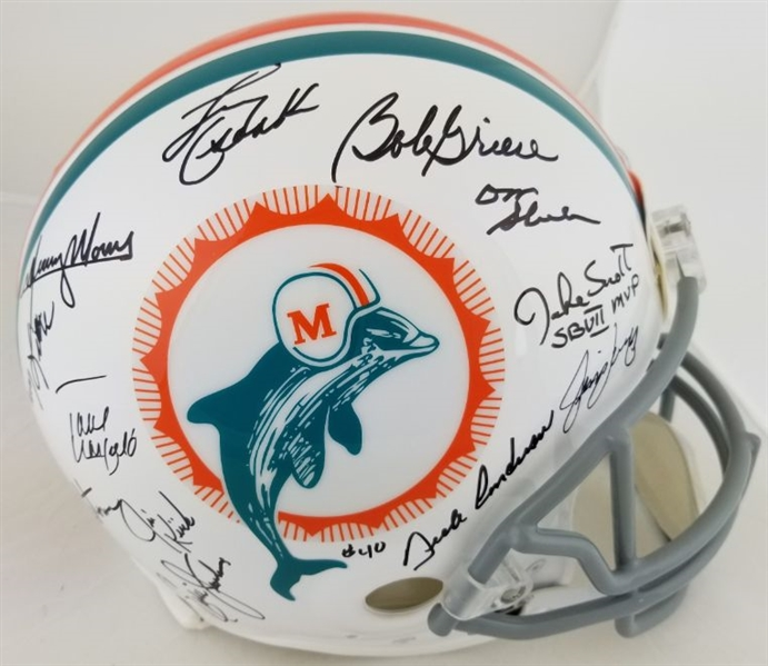 1972 Dolphins Undefeated 17-0 Team Signed Full Size Authentic Proline Helmet w/ 26 Sigs Inc. Shula, Griese, Csonka (JSA LOA)