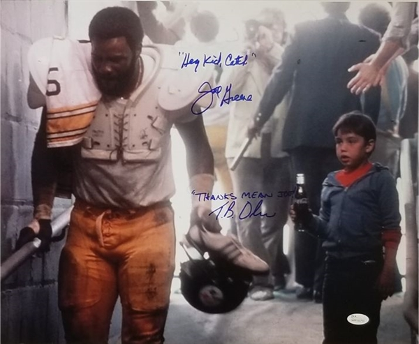 Joe Greene and Tommy Okon Signed & Inscribed Super Bowl Coca-Cola Commercial 16x20 Photo (JSA Witness COA)