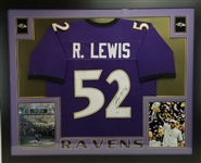 Ray Lewis Signed Baltimore Ravens Custom Jersey Framed Display (PSA/DNA ITP COA)