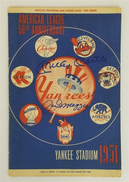 Mickey Mantle & Joe DiMaggio Dual Signed 1951 American League Official Program and Scorecard - Yankee Stadium Edition (JSA LOA)