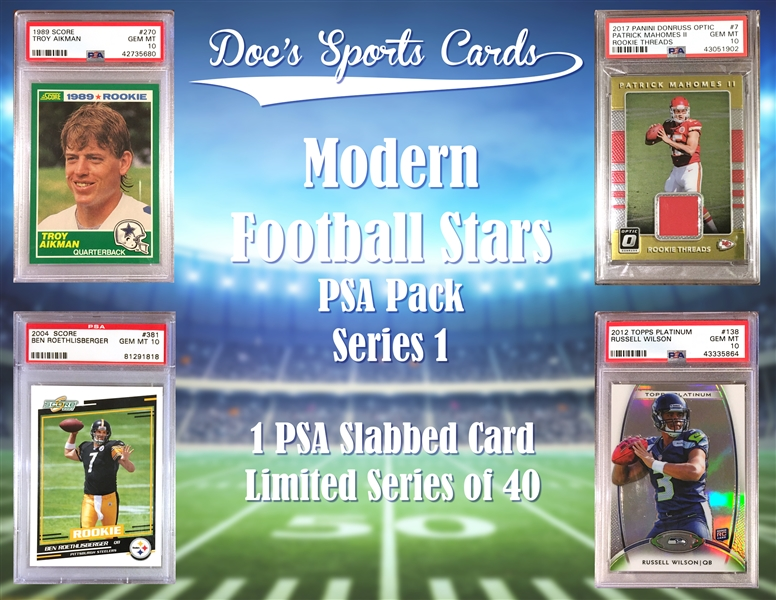 Football Stars PSA Graded Football Card Mystery Pack