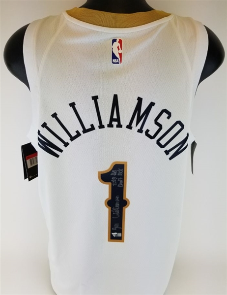 "Zion Williamson Full Name Signature ""2019 #1 Draft Pick"" Signed Pelicans Nike Dri-Fit NBA Swingman Jersey (Fanatics Certified)"