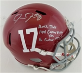 "Josh Jacobs ""Roll Tide"" & ""1491 Career Rush Yds"" & ""16 Career TDs"" Signed Full Size Replica Alabama Crimson Tide Speed Helmet (Beckett Witness COA)"