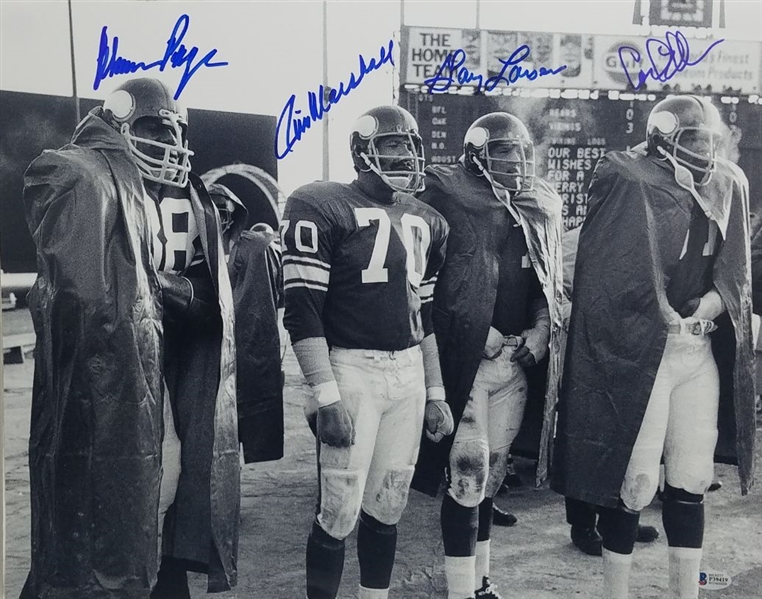 Purple People Eaters - Eller, Marshall, Page, Larsen Signed Minnesota Vikings 16x20 Photo (Beckett Witness COA)