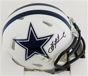 Troy Aikman Signed Dallas Cowboys Flat White Speed Mini Helmet (Beckett Witness COA)