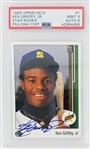 Ken Griffey Jr. Seattle Mariners Signed 1989 Upper Deck Rookie Baseball Card - Card Graded Mint 9, Auto Graded NM-MT 8 (PSA/DNA)