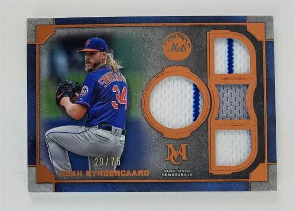 Noah Syndergaard New York Mets 2019 Museum Collection Primary Pieces Quad Relic Lmt. Ed Relic Baseball Card #SPQR-NS