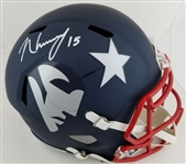 NKeal Harry Signed Full Size Replica New England Patriots Amp Alternate Helmet (JSA Witness COA)